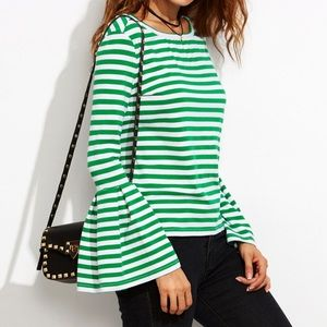 Tops - NWOT Green striped bell sleeve top